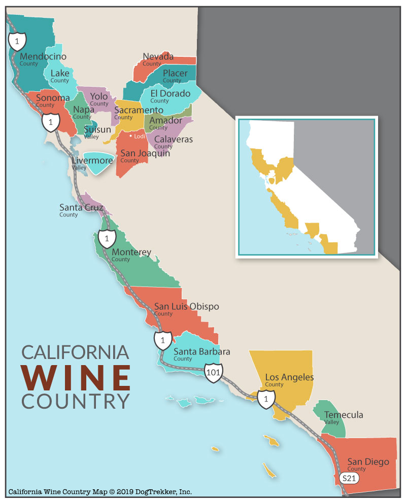 Wine Country California Map Dog friendly lodging | Dog friendly hikes | Dog friendly parks