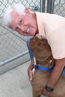 Dave Duffield and friend at Oakland Animal Services