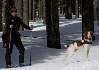 Janet and Bodie on a snowshoe adventure