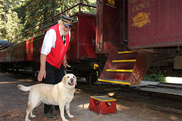 Kayla boards the Skunk Train
