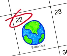 calendar with earth day, april 22, circled