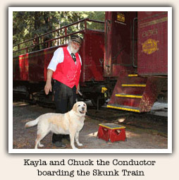 dog boarding the Skunk Train