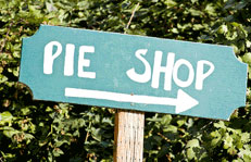 Pie shop sign at apple hill