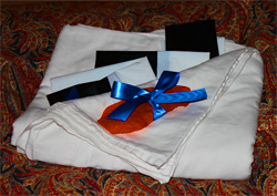 Welcome package with sheets, Stanford Inn, Mendocino
