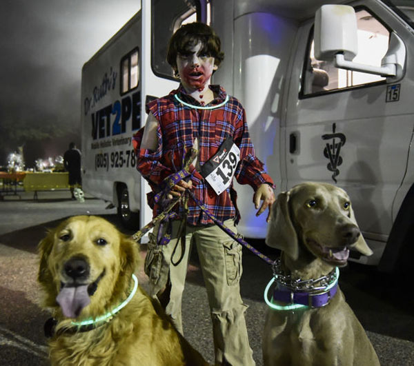 Dogs and their human at Zombie