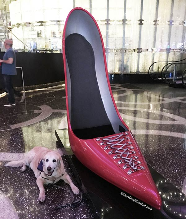 Giant high heel at Cosmo Hotel