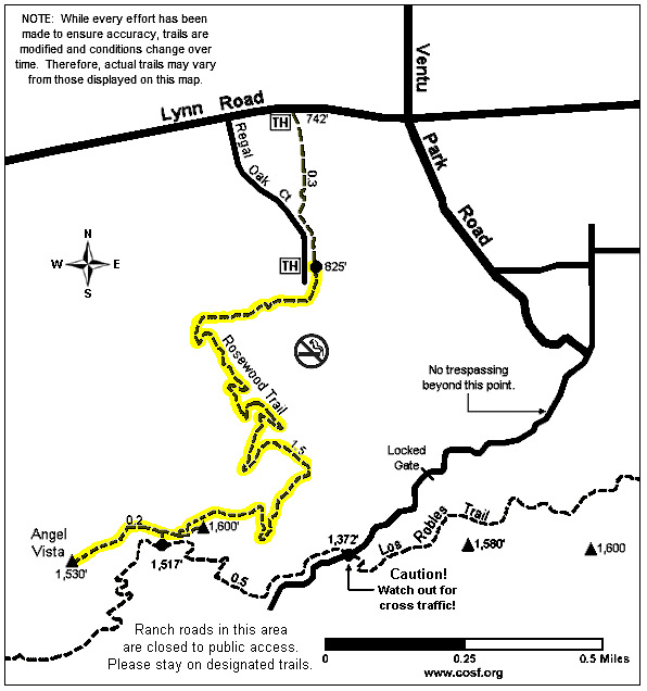 Map to Rosewood Trail
