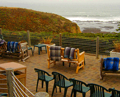 The dog-friendly deck at Moss Beach Distillery